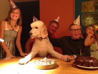 Truman and Grandpa at their joint birthday party. Truman ready to blow out his candle.. Happy 1st Birthday Truman!!